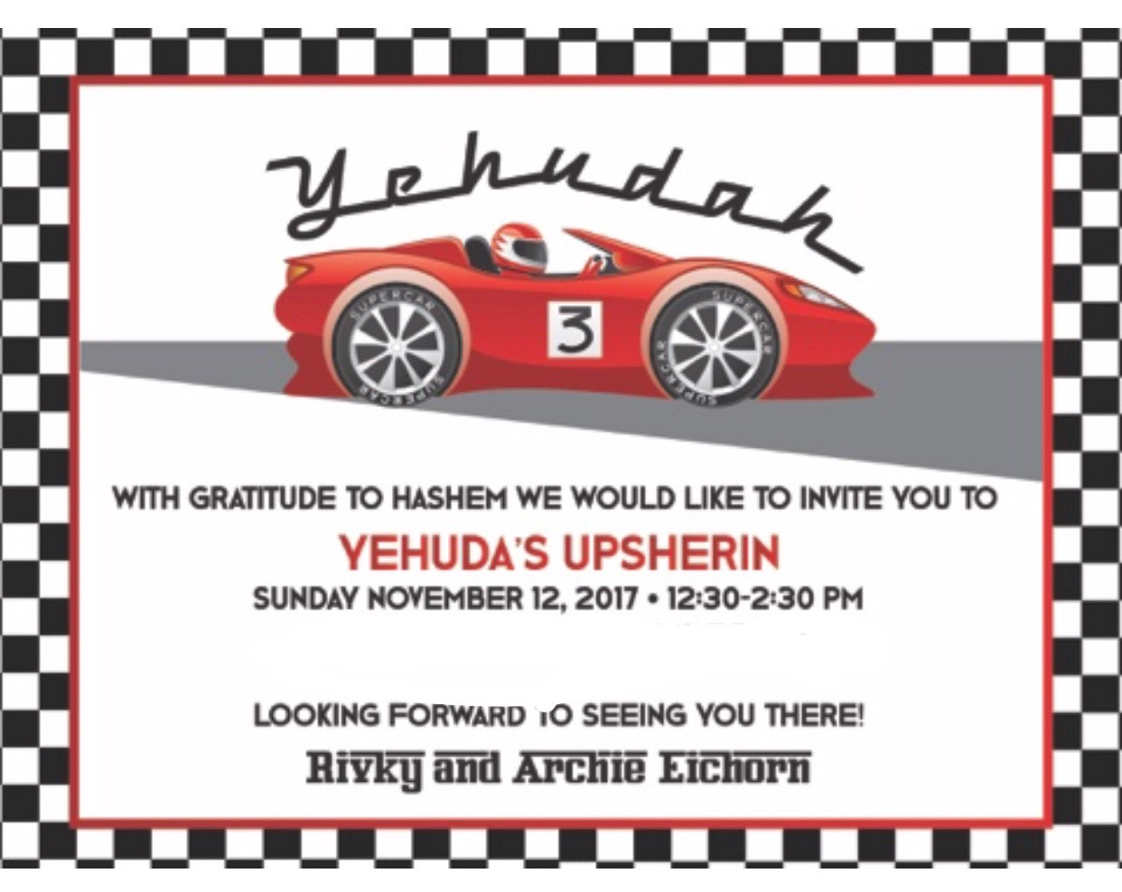 Race Car Upsherin Events 360